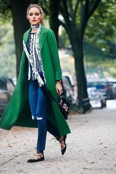 Manteau long vert