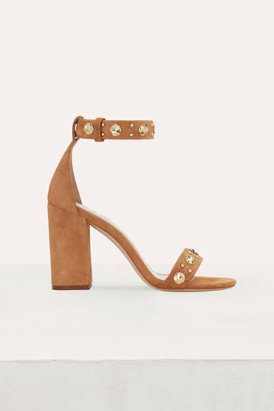 Sandales à talons épais beiges Maje
