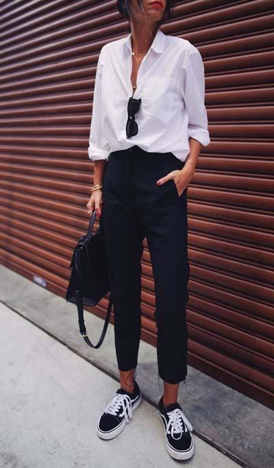 Chemise blanche, pantalon masculin noir, van's