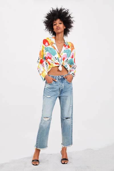 Zara jean droit taille mi-haute