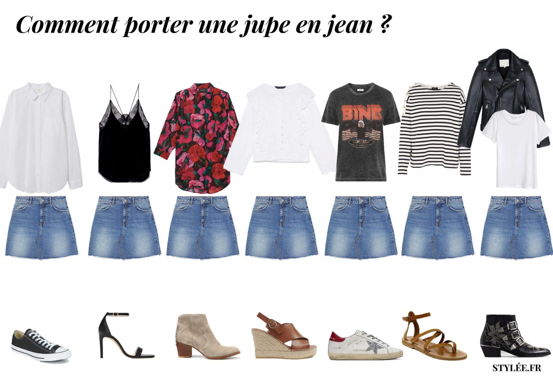 Comment porter une jupe en jean, idées de tenues