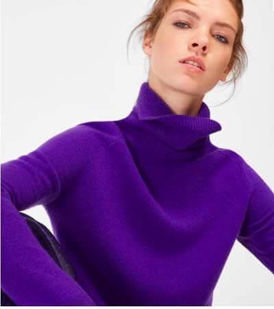 Pull col roulé violet