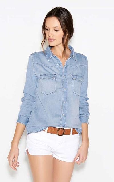 Chemise jean short blanc