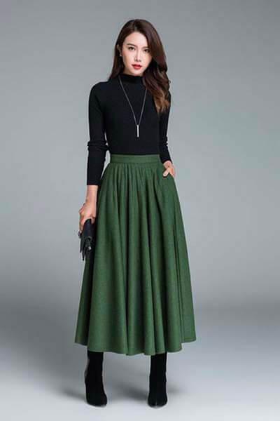 Body noir et jupe longue