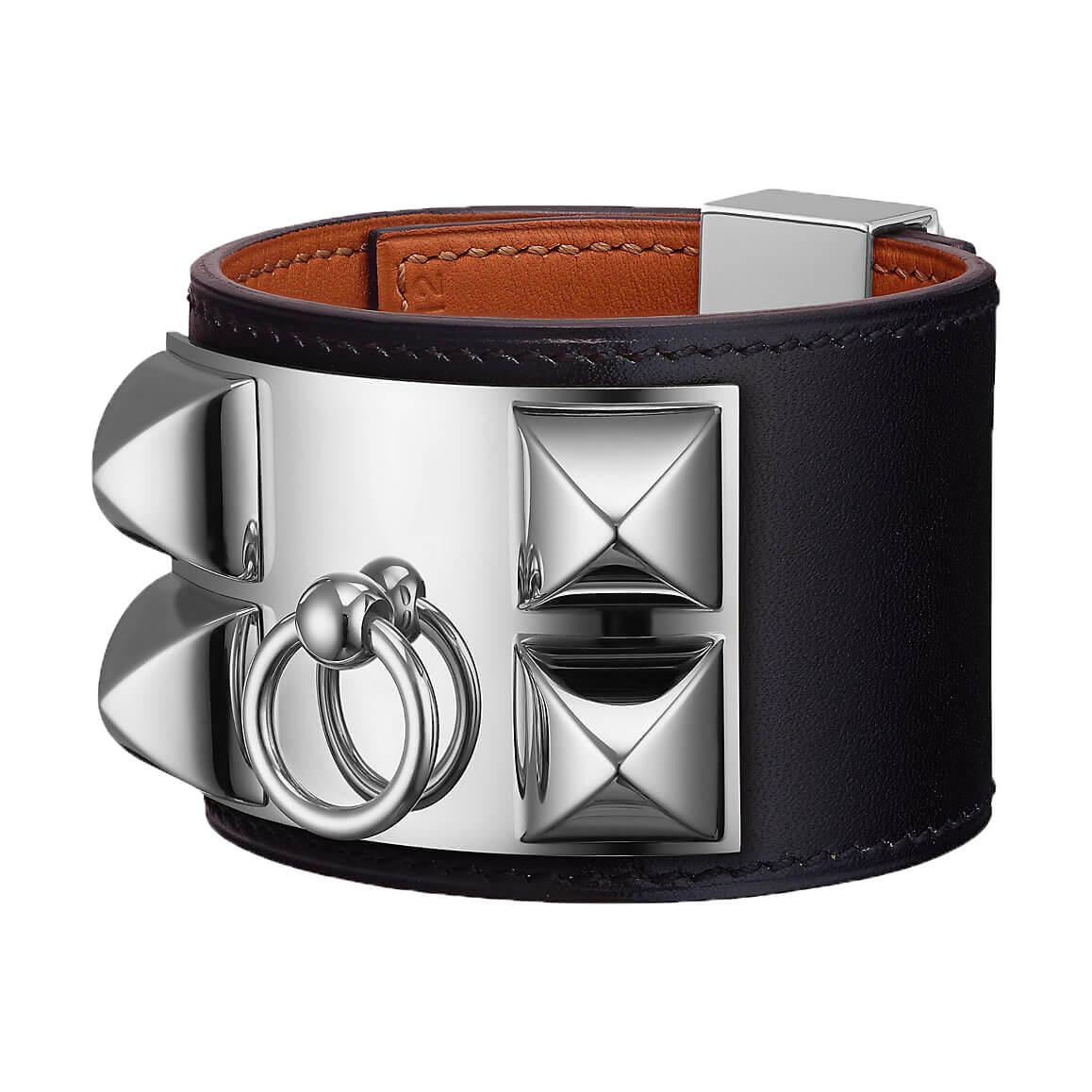 Bracelet Collier de chien Hermès noir argent palladié