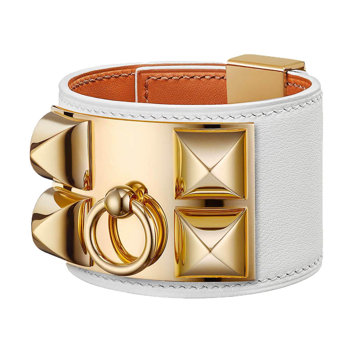 Bracelet collier de chien hermès blanc or