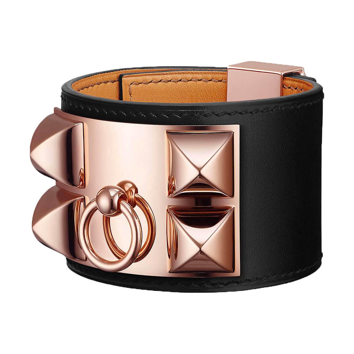 Bracelet collier de chien hermès noir et or rose