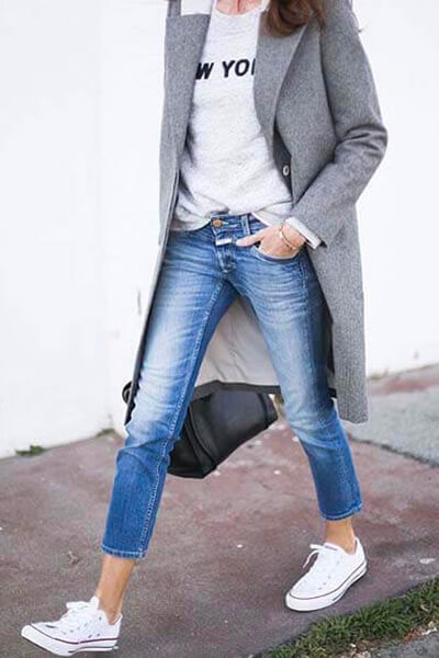 Converse blanches jean manteau gris