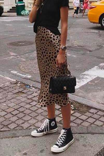 Converse jupe en soie léopard