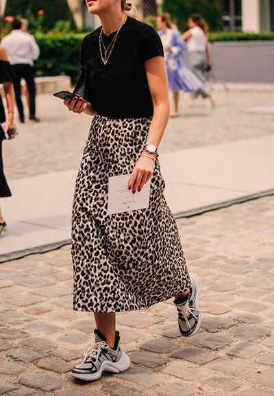 Exemple jupe léopard droite