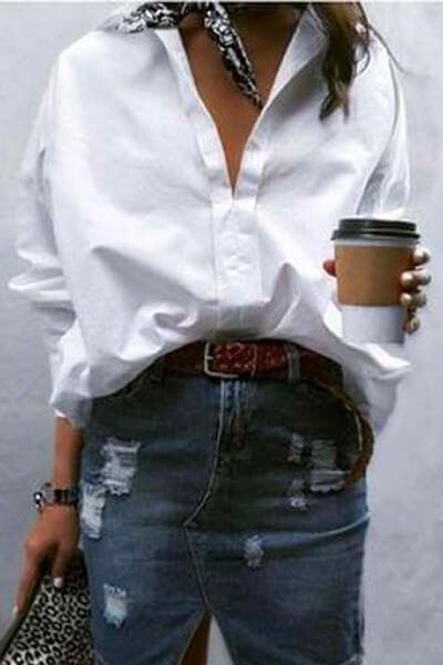 Chemise blanche et jupe en jean
