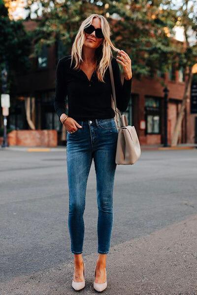 Fashion jakson skinny cropped avec un ourlet