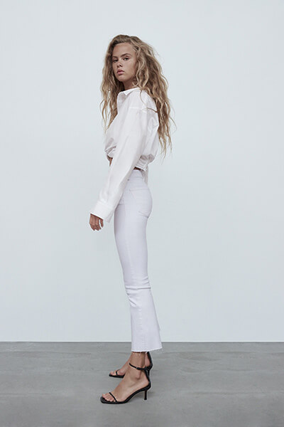 Jean flare blanc Zara