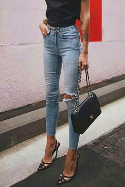 Jean skinny cropped avec un bord franc
