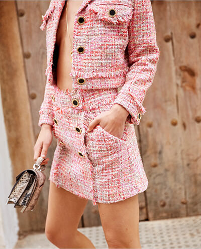 Comment porter du tweed : manteau en tweed : Jupe Tweed The Kooples