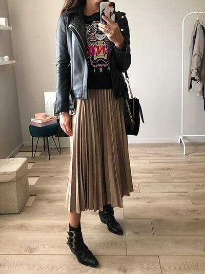 Look du jour - Jupe plissée Zara, sweat-shirt Kenzo - Botts rock The Kooples - Perfecto cuir Maje Bocelix