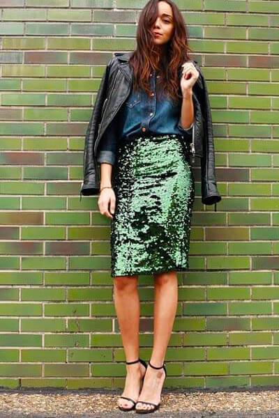 Lookastic comment porter une jupe crayon à sequins en été