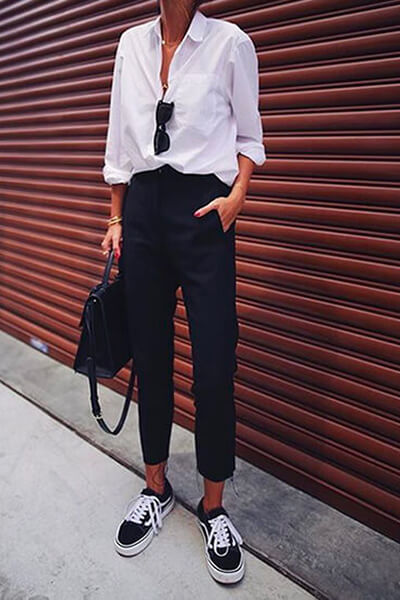 Pantalon chic et vans