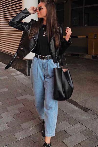Style rock jean mom, carcao en soie et dentelle noir, perfecto en cuir