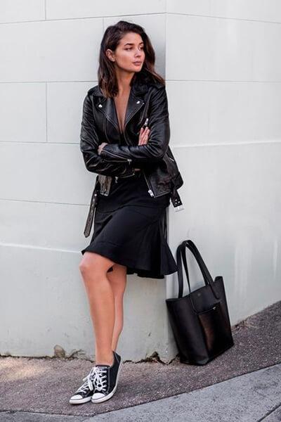 Perfecto et petite robe noire converse