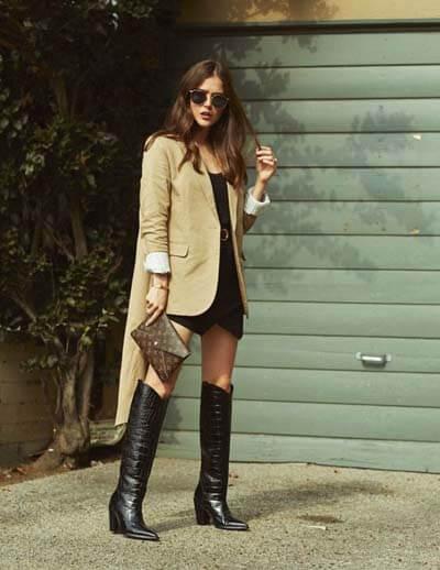 Comment porter des Santiags (femme) : Santiags et blazer