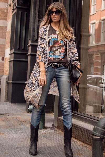Comment porter des Santiags (femme) : Santiags et jean