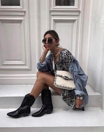 Comment porter des Santiags (femme) : santiags noires