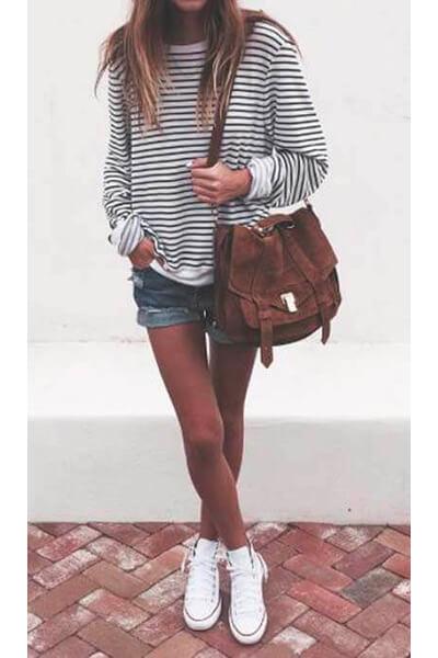 Shopstyle Converse marinière short en jean