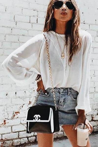 Jupe en jean et blouse blanche sincerely jules