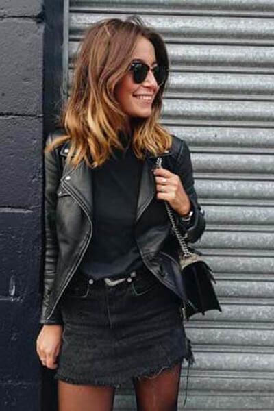 Jupe en jean noire et perfecto