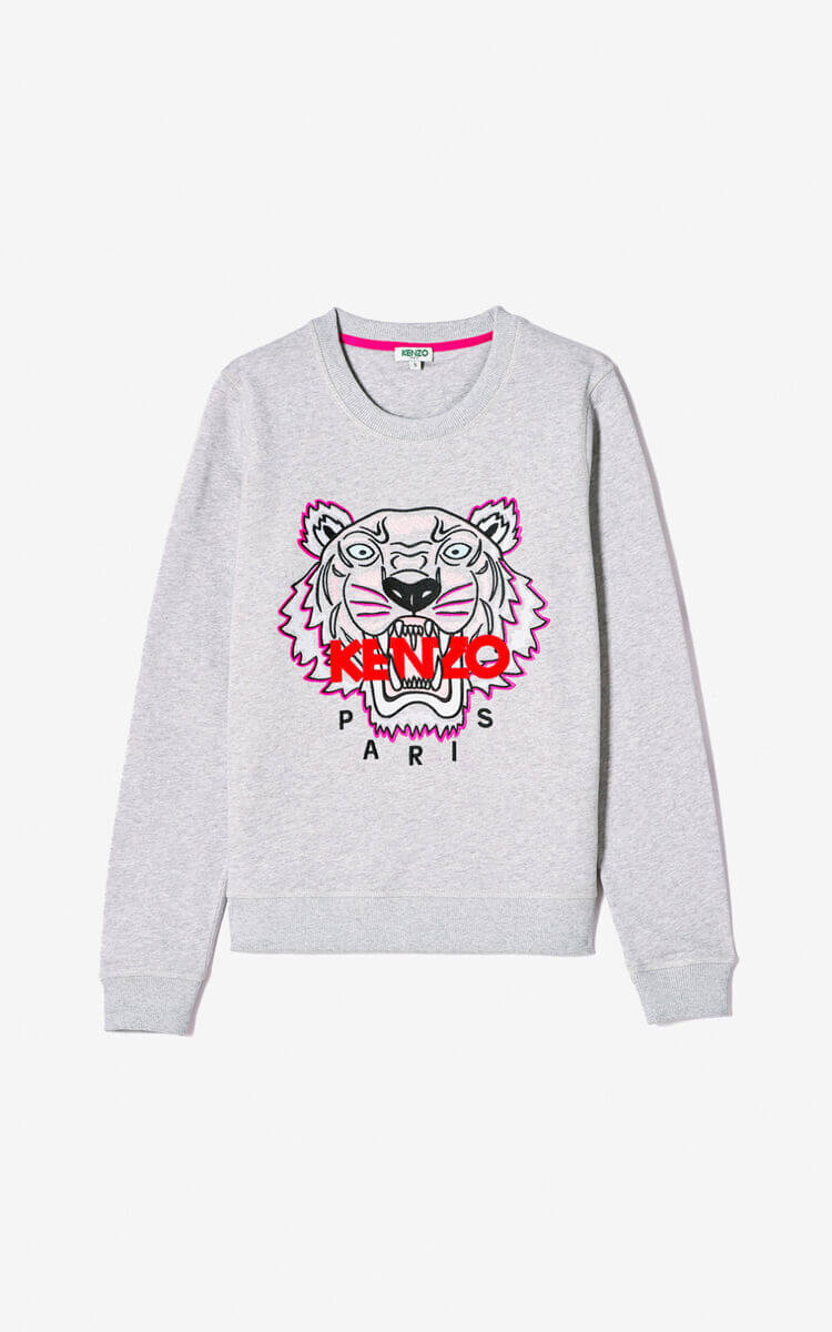 Sweat-shirt Kenzo Tigre gris clair