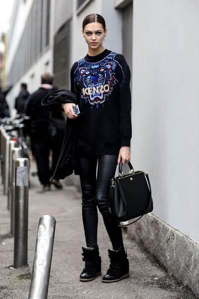 Sweat-shirt-Tigre Kenzo noir et slim en cuir