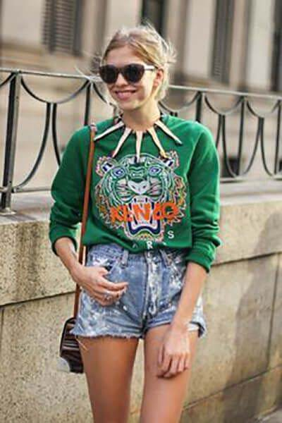 Sweat-shirt Kenzo vert en short en jean destroy