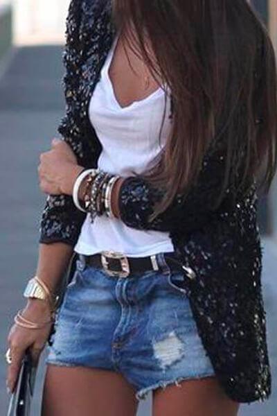 T-shirt blanc et short en jean