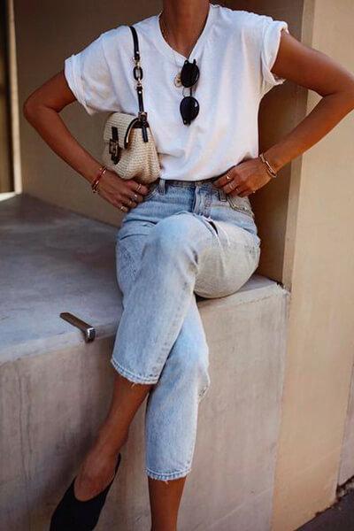 T-shirt et jean look cool et casual été