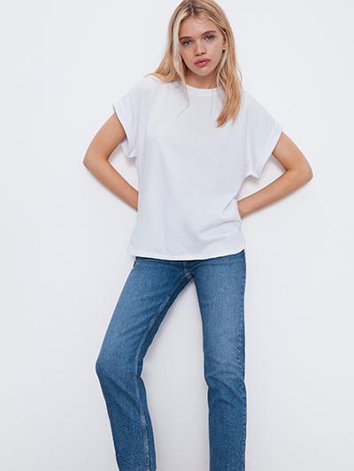 T-shirt loose blanc zara
