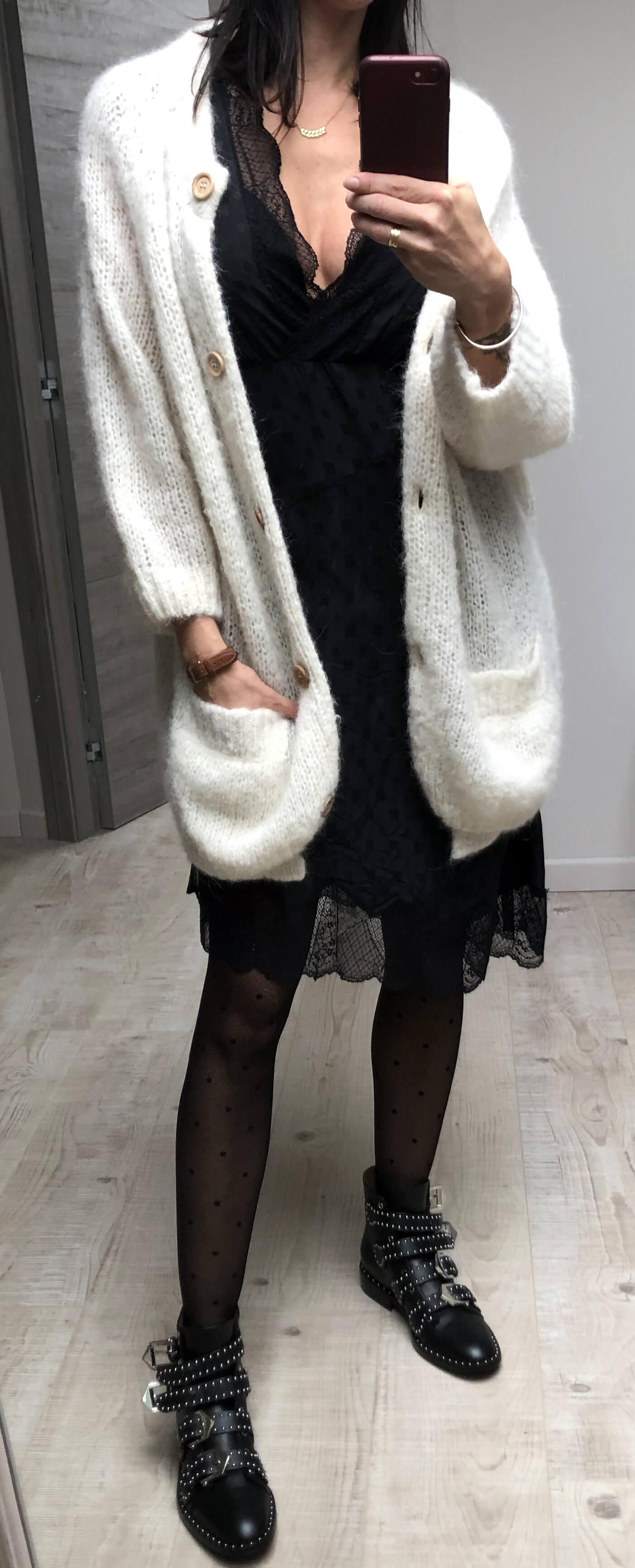 Tenue robe en soie et cardigan
