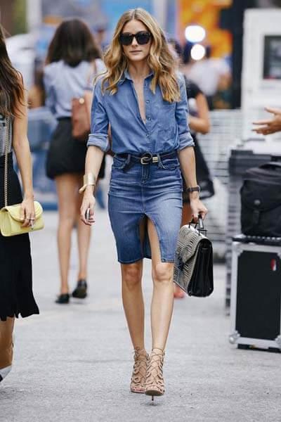 Look jupe et chemise en jean olivia palermo