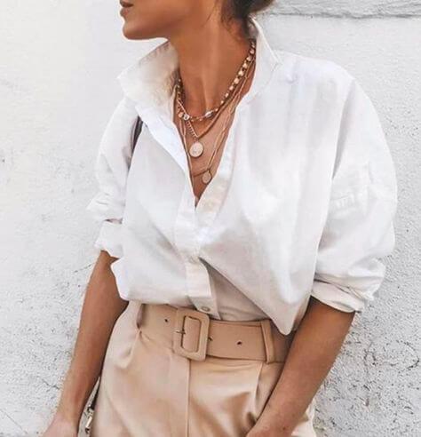 chemise blanche manches retroussées + décolleté